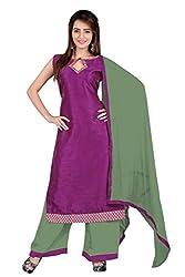 BanoRani Wine & Green Color Banarasi Silk & Jacquard Self Design with Lace Work Unstitched Salwar Suit Dress Material (Plazzo)