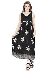 Agroha Long Kurtis For Women Printed Anarkali Floral Sleeveless