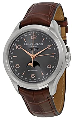 Baume et Mercier Clifton Grey Dial Brown Leather Mens Watch MOA10213