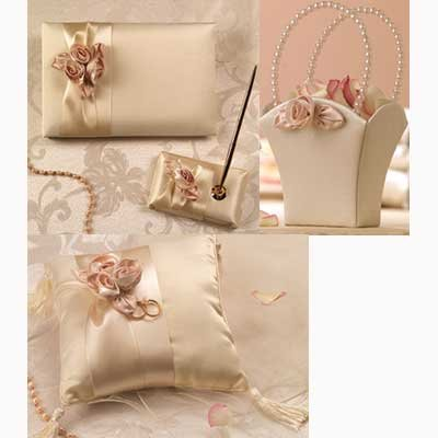Blush Ivory Wedding Set: Guest Book, Pen Set, Ring Pillow, Flower Basket