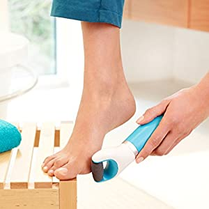 Amopé Pedi Perfect Foot File - Electronic Pedicure Tool - Regular Coarse, Blue (Also Available in Pink Extra Coarse)