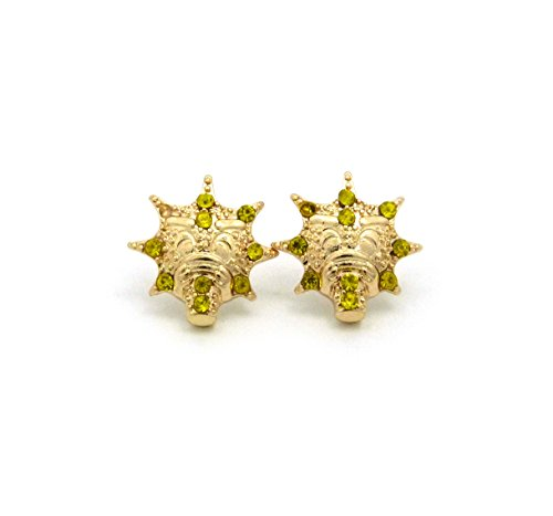 Gold Tone Mens Iced Out Glo Gang Piece Pierced Earring Xe1125G