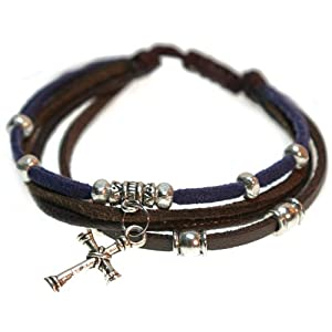 Brown and Blue Leather Silver Cross Bracelet, Adjustable (Silver Gift Box)