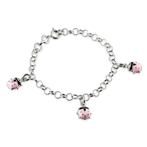 Sterling Silver Pink Lady Bug Baby Bracelet