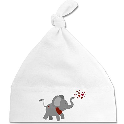 Tiermotive Baby - Elefant- Herzchen - Unisize - Weiß - BZ15 - Baby Mütze mit einfachem Knoten / Bommel als Geschenkidee