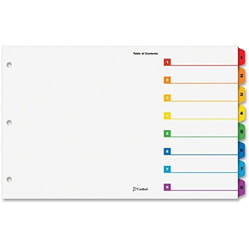 Tabloid Onestep Index System, 8-Tab, 1-8, 11 X 17, Multicolor Tabs, 8/set