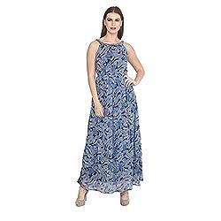 Cj15 Blue Georgette Sleeveless Dresses For Women's