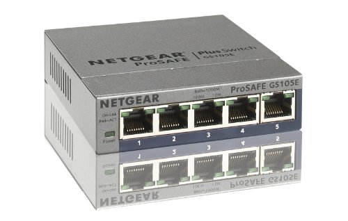 NETGEAR ProSAFE GS105Ev2 5-Port Gigabit Web Managed (Plus) Switch (GS105Ev2)