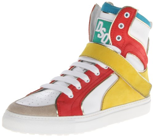 DSQUARED2 Men's Hockey Vitello Sport Fashion Sneaker,Bianco/Corallo Giallo,43.5 EU/11.5 M US