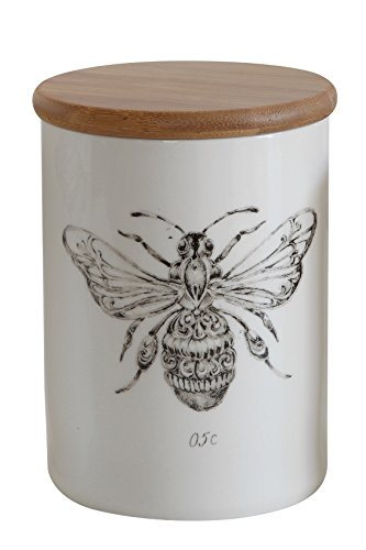 Creative Co-op Stoneware Jar with Bamboo Lid &