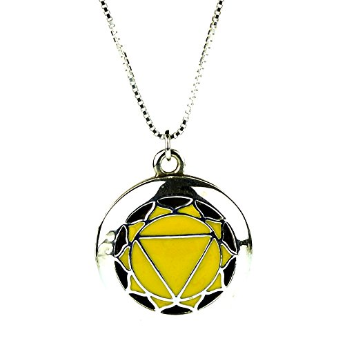 925 Sterling Silver 3rd Solar Plexus Yoga Seven Chakra Aromatherapy Essential Oil Diffuser Locket Necklace & 5 refill pads
