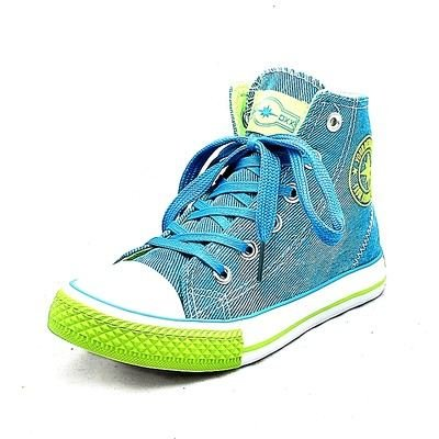 Childrens Unisex Denim Blue Canvas Pumps with Blue Laces Baseball Boots New