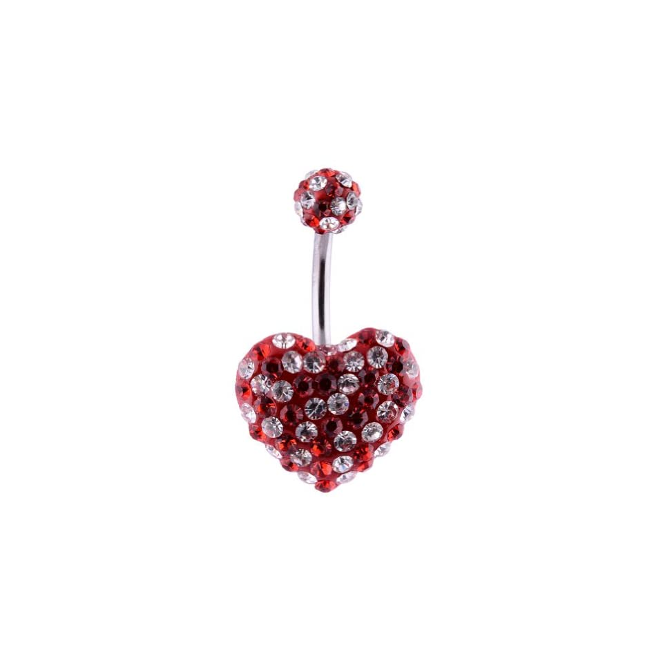 14G Surgical Steel Heart Gemstone,Body Piercing Jewelry Banana Navel Belly Button Ring