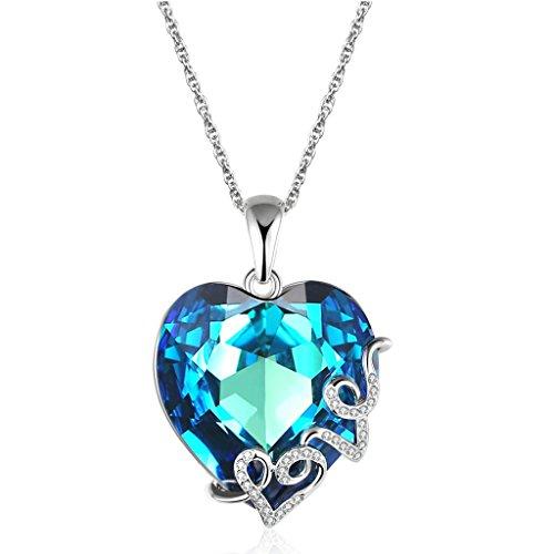 "Lelekiss ""Heart of the Ocean"" Love Filigree Blue Crystal Heart Pendant Necklace Gift for Women - LELEKISS"