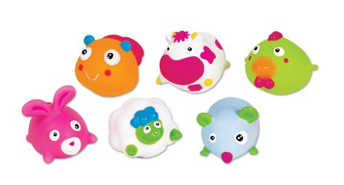 Small World Toys All About Baby Bath - Farm Animals Squeezy Squirters, Set Of 6
