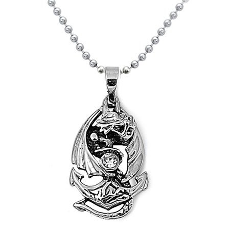 Stainless Steel Dragon and Anchor with Clear Crystal Necklace 20IN