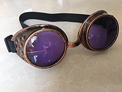 New Sell Vintage Steampunk Goggles Glasses Welding Cyber Punk Gothic (New Copper and Purple Lens)