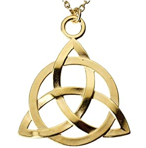 Triquetra Trinity Knot Gold-dipped Pendant Necklace on 18