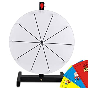 round 16 16 inch tabletop white dry erase clicker prize wheel 10 slot spin board w. Black Bedroom Furniture Sets. Home Design Ideas