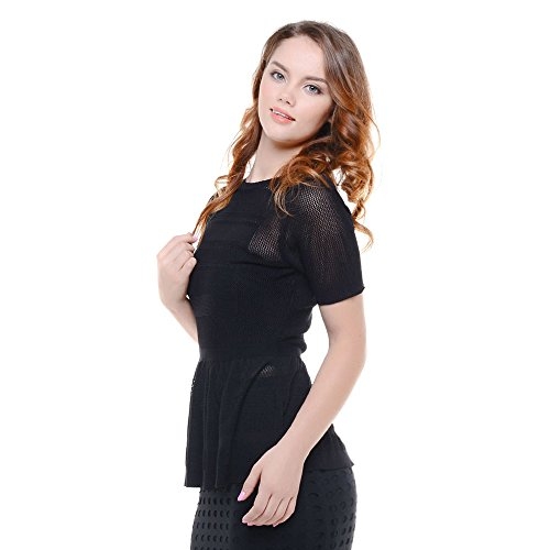 Knit&Love Women's Short Sleeve Round Neck Collect Waist Slim Knit Tops Tee (M, Black) (Cowl Cashmere compare prices)