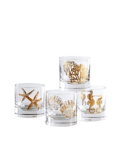 Shiraleah Set of 4 Assorted Coastal 8-oz. Bar Glasses