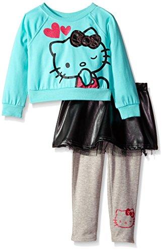 Hello Kitty Little Girls' Pleather Bow Legging Set, Sea Flower, 3T