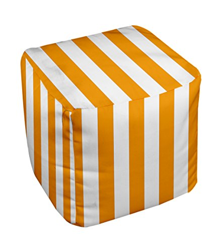 E by design Stripe Pouf, 13-Inch, Celosia Orange