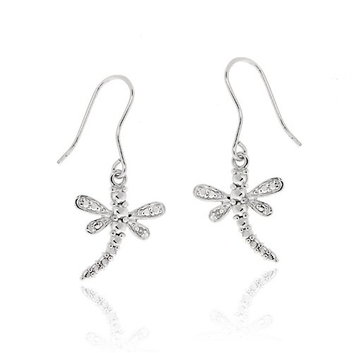 Sterling Silver Diamond Accent Dragonfly Earrings