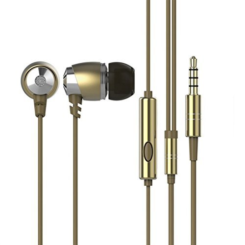 GranVela H5302 In-Ear Headphones Patent Designed With High Tensile Resistance Headsets,3.5mm Plug Earbuds(3 Different Size Ear Inserts / Retail Packaging) ,for iPhone 6, 6 Plus, 5S, 5C, 5, 4S, 4/ iPad 4, 3, 2, 1, Mini, Air / iPod Touch, Nano, Shuffle, Classic/ Samsung Galaxy S5, S4, S3, Note 4, Note 3, Note 2 / Other Android Smartphones - Motorola, Google Nexus, HTC, Sony, Nokia / Tablets &MP3, MP4 Players---Gold