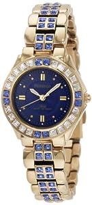 Armitron Women's 75/3689BLGP Sapphire Colored Swarovski Crystal Accented Gold-Tone Watch