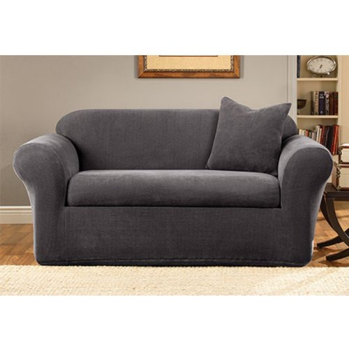 Sure Fit Stretch Metro 2 Piece Sofa Slipcover Gray