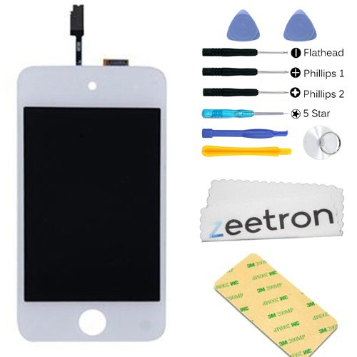 Zeetron Glass Digitizer LCD Assembly Replacement Screen White for iPod Touch 4th Gen + Tools + Screen Protector + Cloth + Adhesive (Do It Yourself Kit) (Ipod Touch 4th Digitizer compare prices)