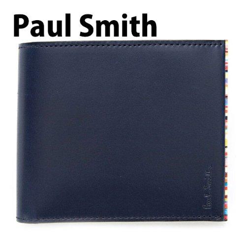 ポールスミス Paul Smith 財布 二つ折り財布 メンズ レザー 本革 ネイビー×マルチストライプ PSU055-190 [ウェア&シューズ]