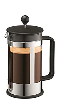 Bodum Kenya 8-Cup French Press Coffee Maker, 34-Ounce, Stainless Steel, Black at amazon