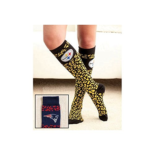 NFL Fan Merchandise Socks New England Patriots Team Logo Leopard Print Knee High Socks Brand New поло print bar new england patriots