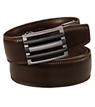 EazyBelt 2.0 Brooklyn Buckle with Automatic Ratchet Leather Belt 44-45 Brown