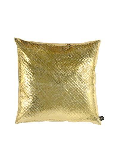 Aviva Stanoff Embossed Basketweave Vinyl Pillow, Gold/White