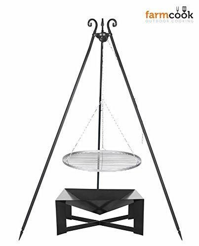 Dreibein Grill VIKING Höhe 180cm + Grillrost aus Edelstahl Durchmesser 60cm + Feuerschale Pan34 Länge 70cm Breite 70cm online kaufen