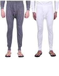 Unix Men's Thermal Pyjama Sets White And Grey (Pack Of 2)