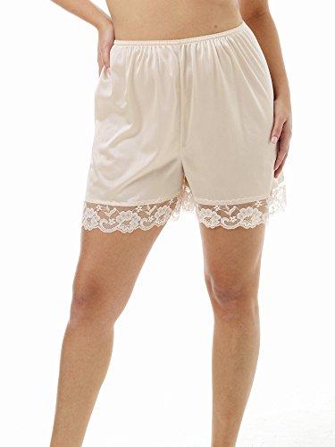 Underworks Pettipants Nylon Culotte Slip Bloomers Split Skirt 4-inch Inseam Large-Beige