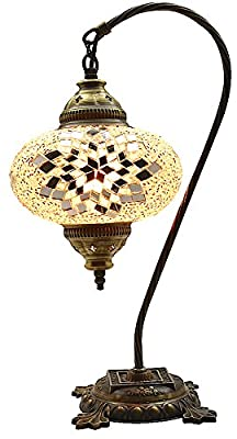 New BOSPHORUS Stunning Handmade Swan Neck Turkish Moroccan Mosaic Glass Table Desk Bedside Lamp Light with Bronze Base