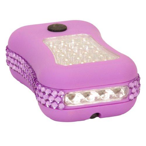 Purple Crystal Rhinestone 28 Led Magnetic Hook Flashlight Worklight With Batteries