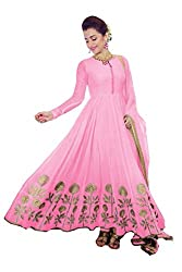 Clickedia Women's Faux Georgette Pink Anarkali Salwar Suit Dress Material