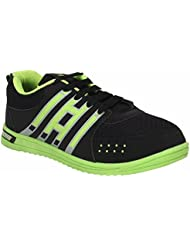 Indian Style Black & Neon Green Sports Shoes For Men