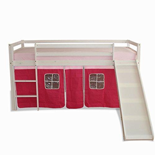 Lit enfant mezzanine +toboggan+rideau rose 90x200 cm
