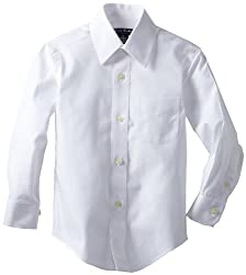 Brooks Brothers Little Boys' Non Iron FP BC, White, 4