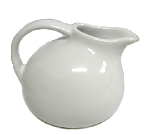 Small Round Stoneware Pitcher Creamer Retro Colors (White) (Small Pitcher With Spout compare prices)