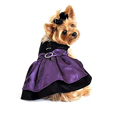 "Doggie Design Purple Taffeta/Black Velvet Party Dog Harness Dress with matching Leash in Size Medium (Chest 16-19"" Neck 13-16"" - Pets weighting 11-15lbs)"