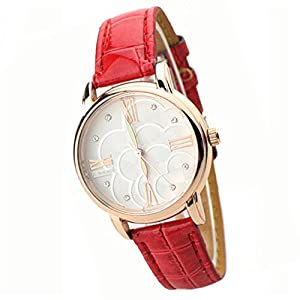 Fashion Women's Luminous Wristwatch Faux Flower Leather Diamante Quartz Wrist Watch (Red)