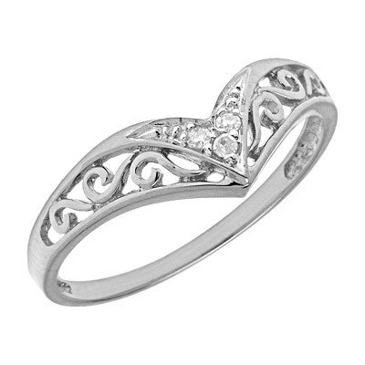 Sterling Silver Diamond Chevron Ring (Size 10.5)